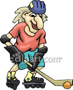 Elderly Woman Playing Hockey on Roller Blades.