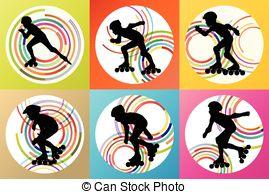 Inline skating Clip Art Vector Graphics. 325 Inline skating EPS.