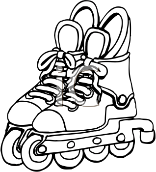 Rollerblades Black And White Clipart.