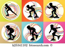 Inline skating Clip Art Vector Graphics. 285 inline skating EPS.