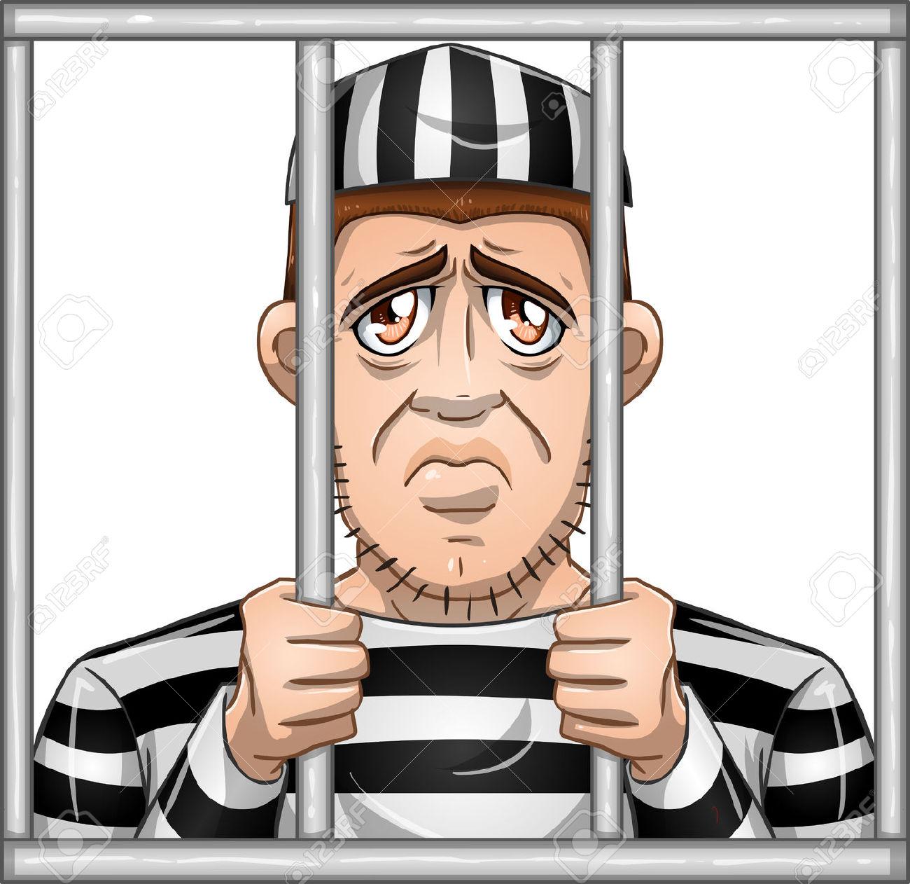 Clipart prisoner behind bars.
