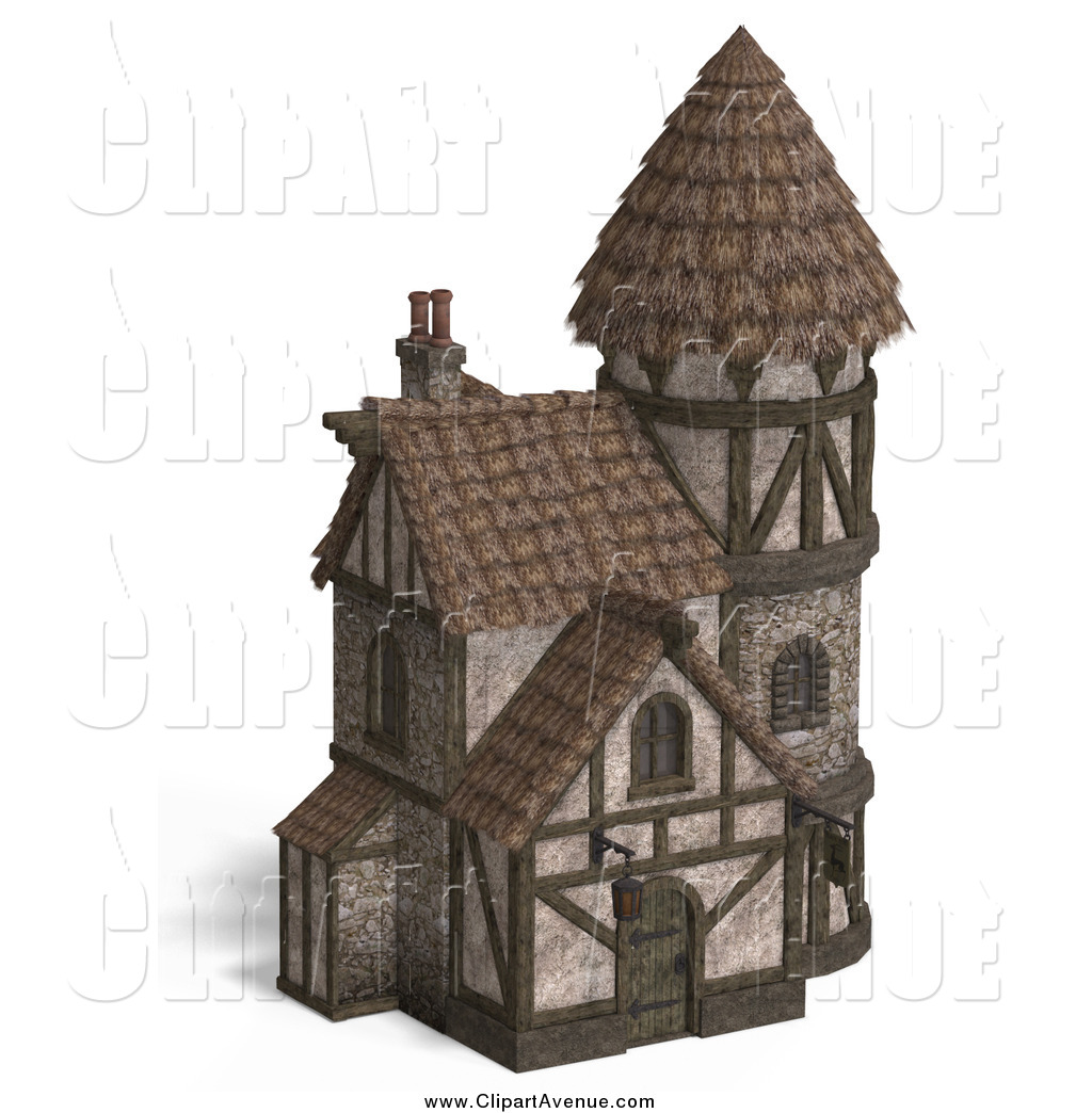 Avenue Clipart of a 3d Medieval Hotel Inn by Ralf61.