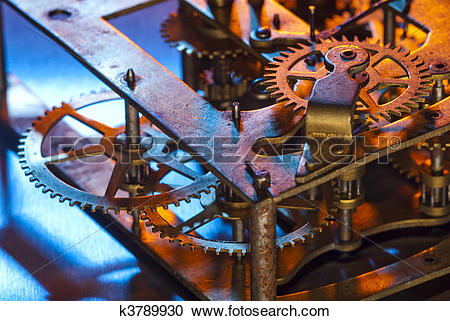 Stock Photography of Close up of clock innards k3789930.