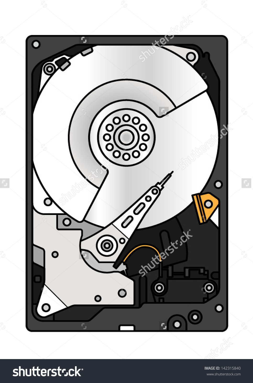 Hard Disk Drive Hdd Exposed Innards Stock Vector 142315840.