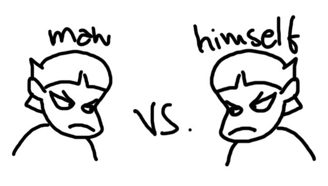 Man vs self conflict clipart.