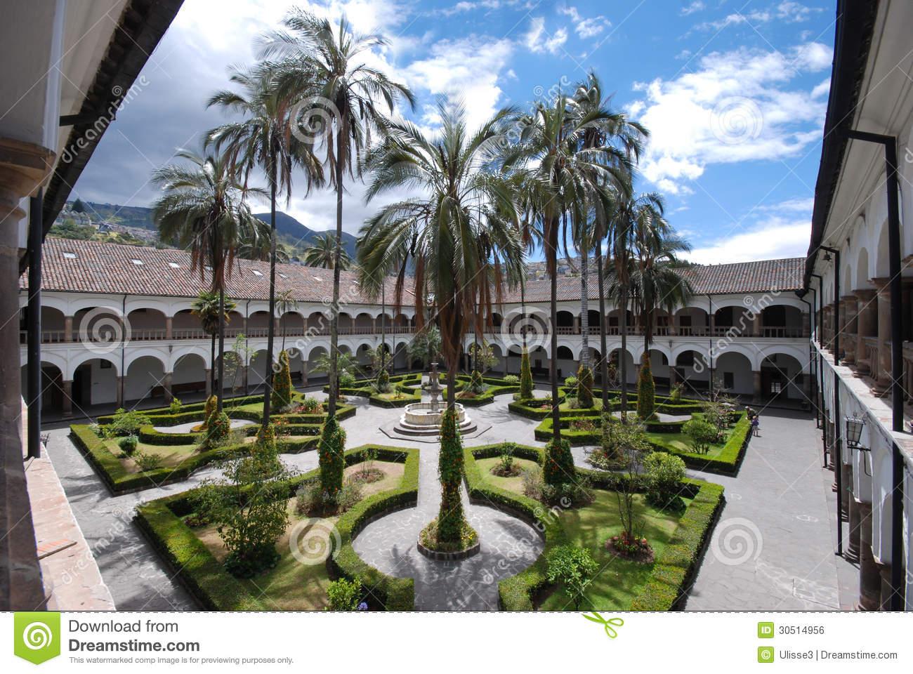 The Inner Courtyard Of San Francisco Monastery, Quito, Ecuador.