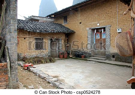 Stock Photos of Inner court yard of a house in China.
