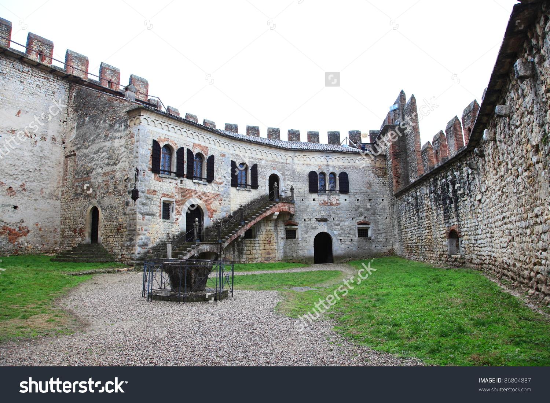 Soave Castle Inner Courtyard Landmark Medieval Stock Photo.