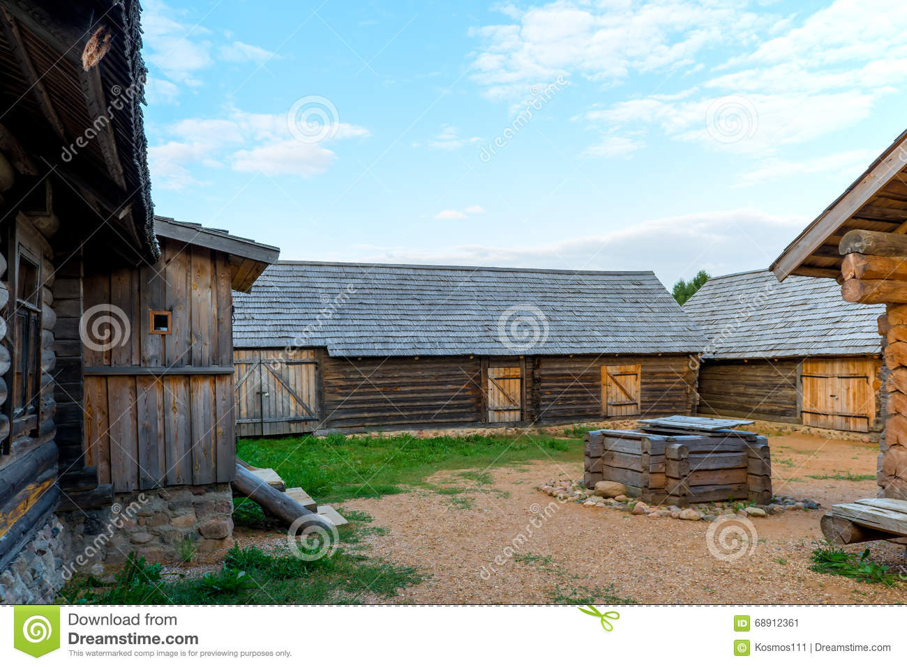 The Inner Courtyard Of The Rural House Stock Photo.