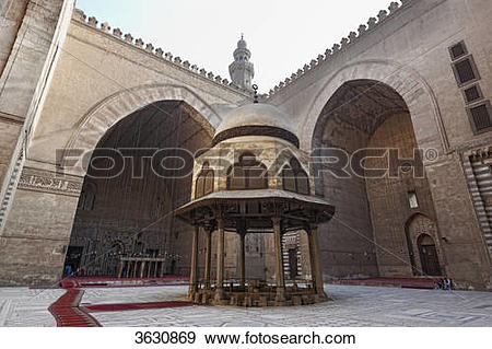 Stock Photograph of Inner courtyard of the Sultan Hassan Mosque.