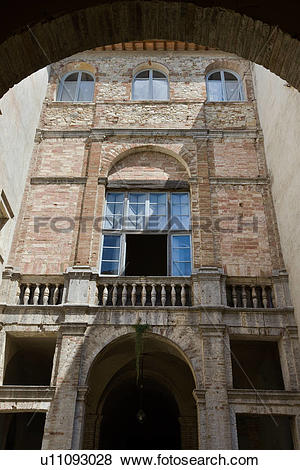 Pictures of Detail of inner courtyard of Italian Renaissance.