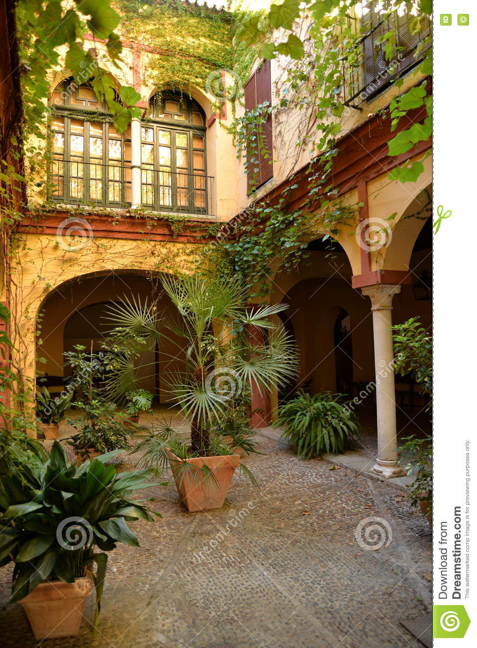 Seville, Andalusia, Spain. Traditional House Inner Courtyard Stock.