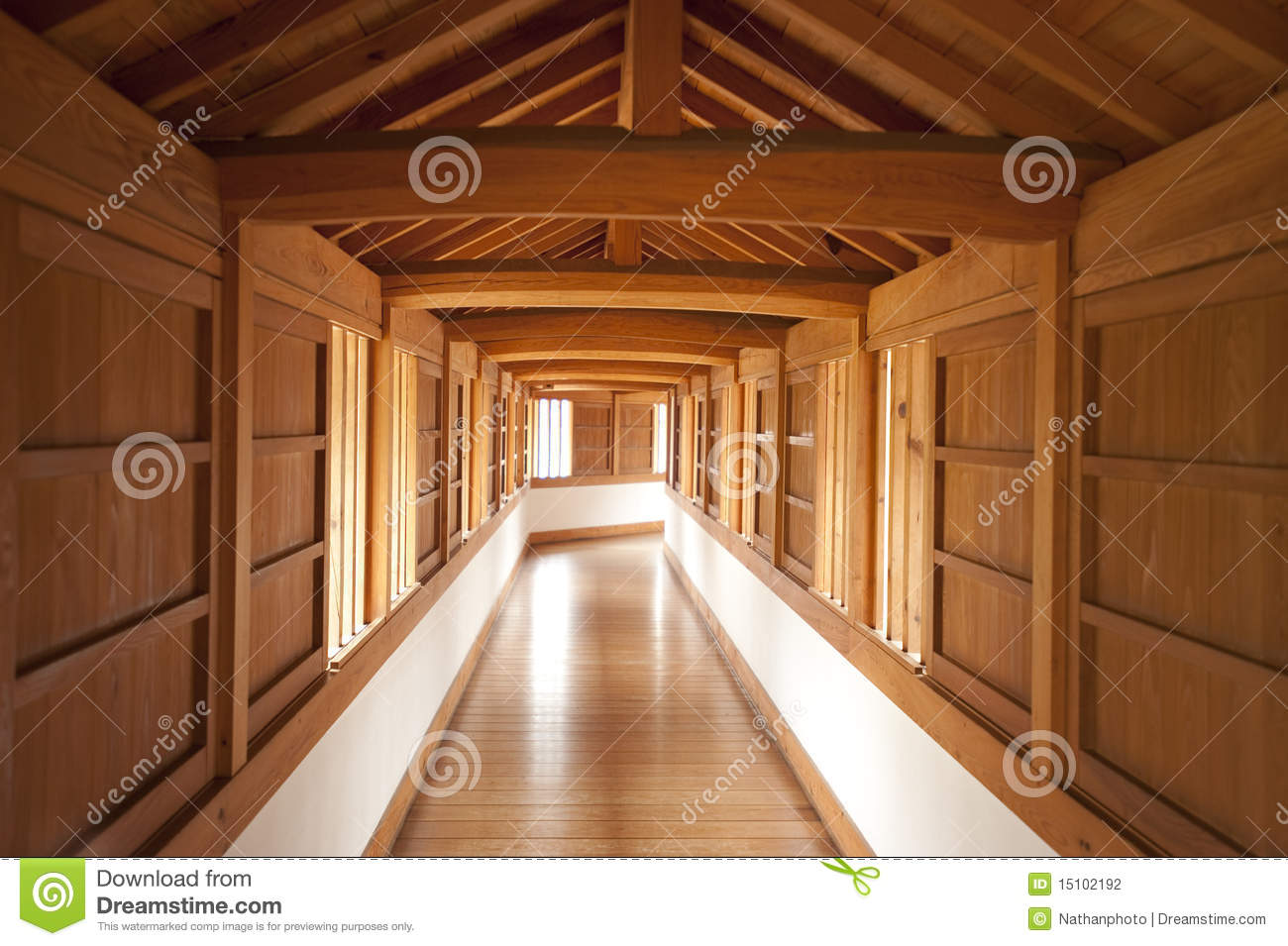 Inner Hallway, Himeji Castle, Japan Stock Photography.