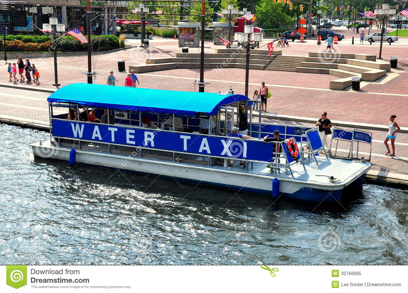 Baltimore, MD: Water Taxi At Inner Harbor Editorial Image.