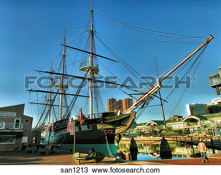 Stock Photo of Tall, colonial ship docked at the Inner Harbor.