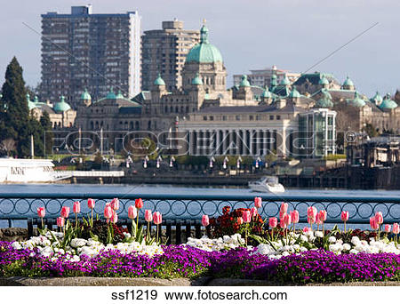 Stock Photograph of Colorful Spring flowers in front of Parliament.