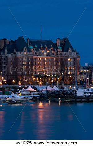 Stock Image of Inner harbour and famous Empress Hotel.