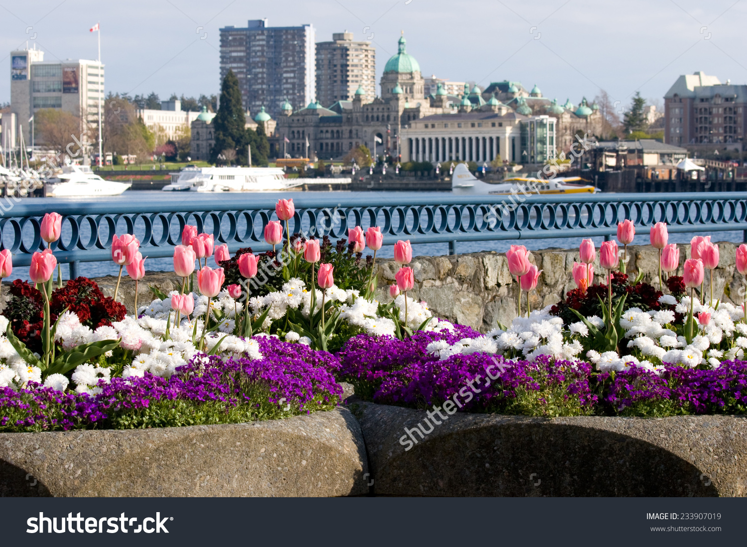 Spring Flowers Front Parliament Buildings Inner Stock Photo.