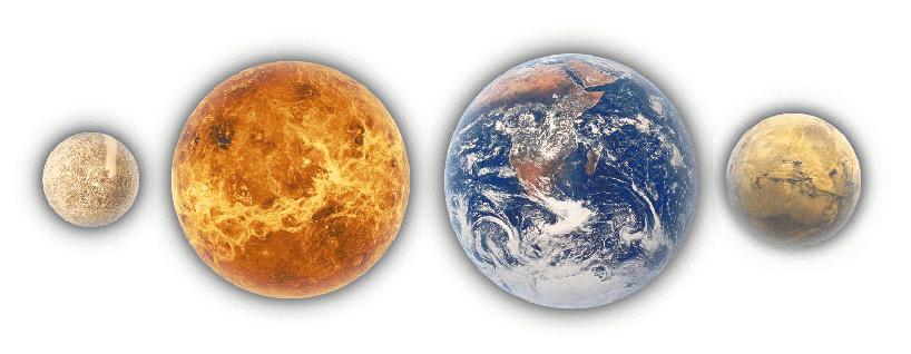 terrestial planets Mercury Venus Earth and Mars.