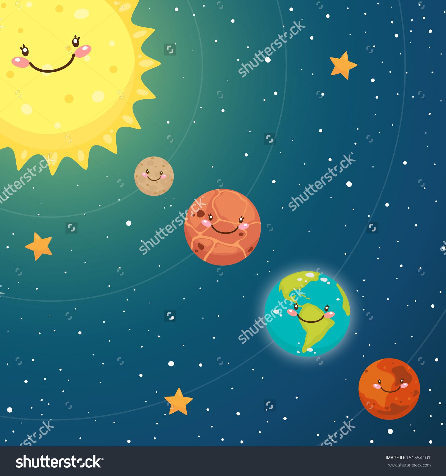Cute Inner Planets Mercury Venus Earth Stock Vector 151554101.