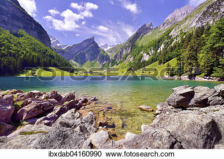 Stock Photography of Lake Seealpsee in the Alpstein Mountains.