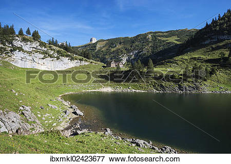 "Picture of ""Lake Faehlensee, on 1446m, and the Bollenwees mountain."