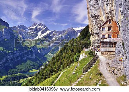 Picture of Mountain restaurant Aescher overlooking lake Seealpsee.