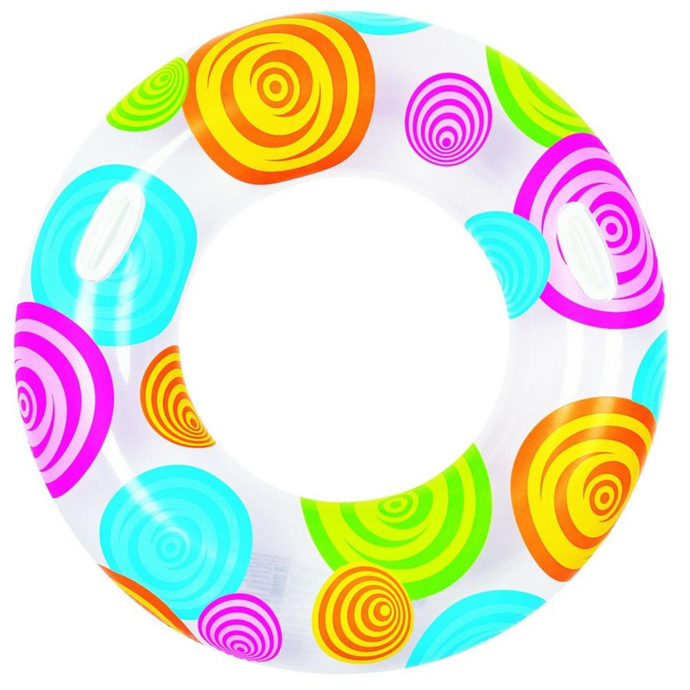 Pool Central 35 in. Circles and Swirls Inflatable Inner Tube Float with  Handles.