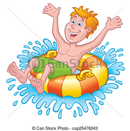 Boy On Inner Tube Splashing.