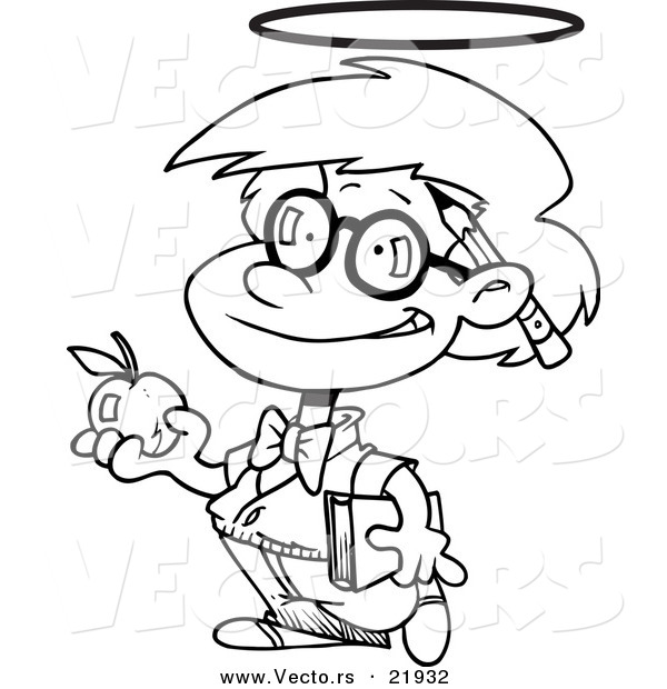 Vector of a Cartoon Innocent School Boy with an Apple.