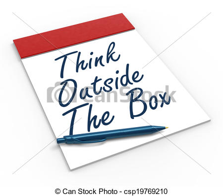 Clipart of Think Outside The Box Notebook Meaning Creativity.