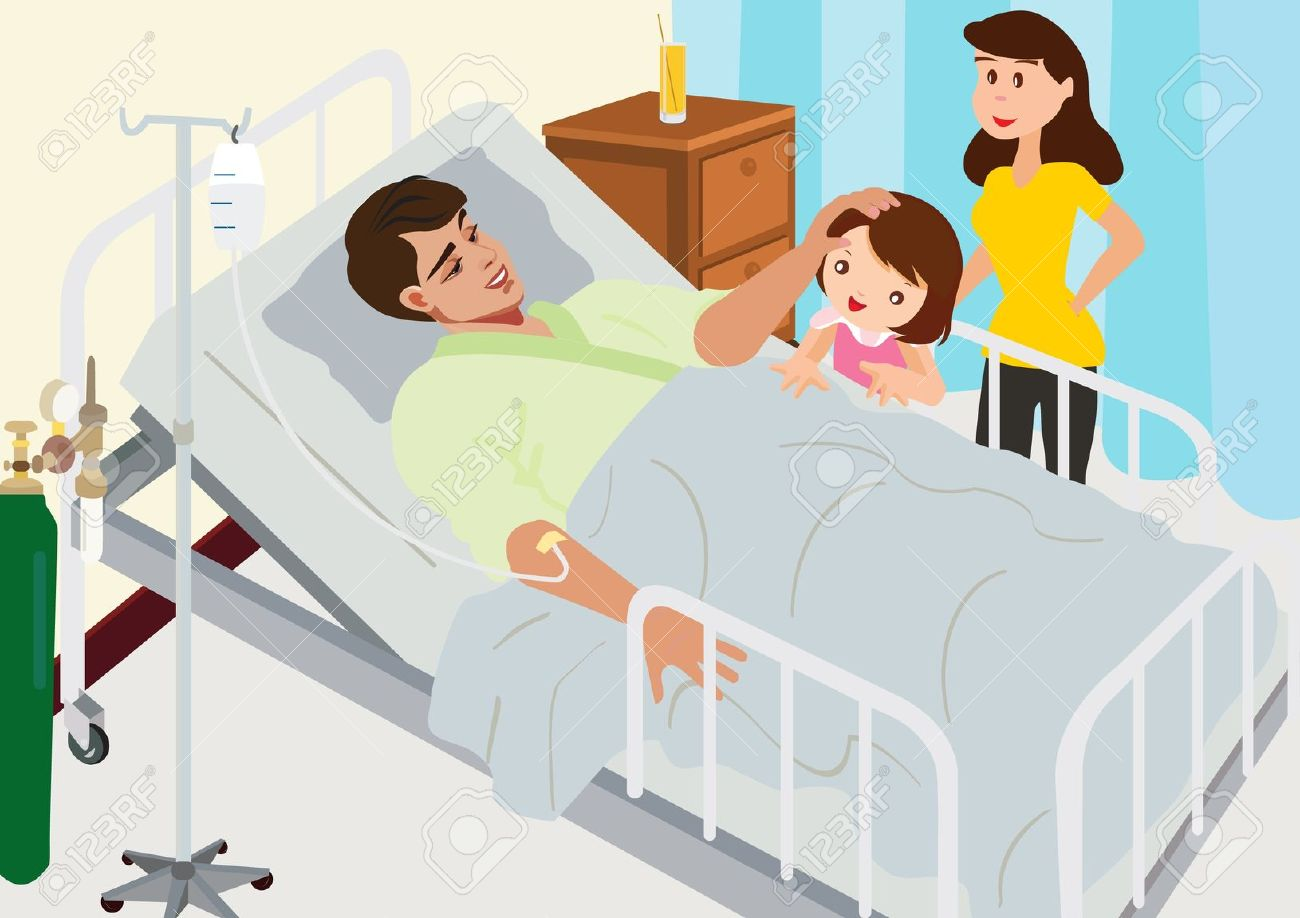 Patient in hospital bed clipart.