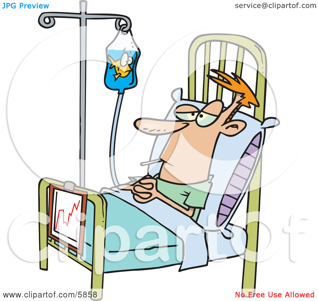 Hospital Patient in a Bed, a Fish in His IV Container Clipart.