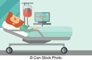 Vectors of Patient in hospital bed being monitored.