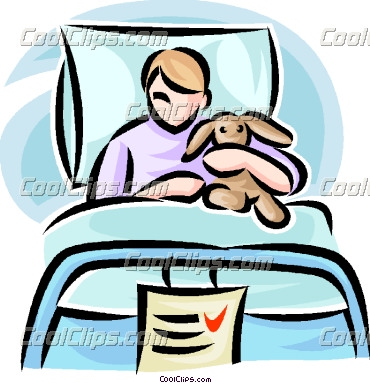 Clipart patient in hospital bed.