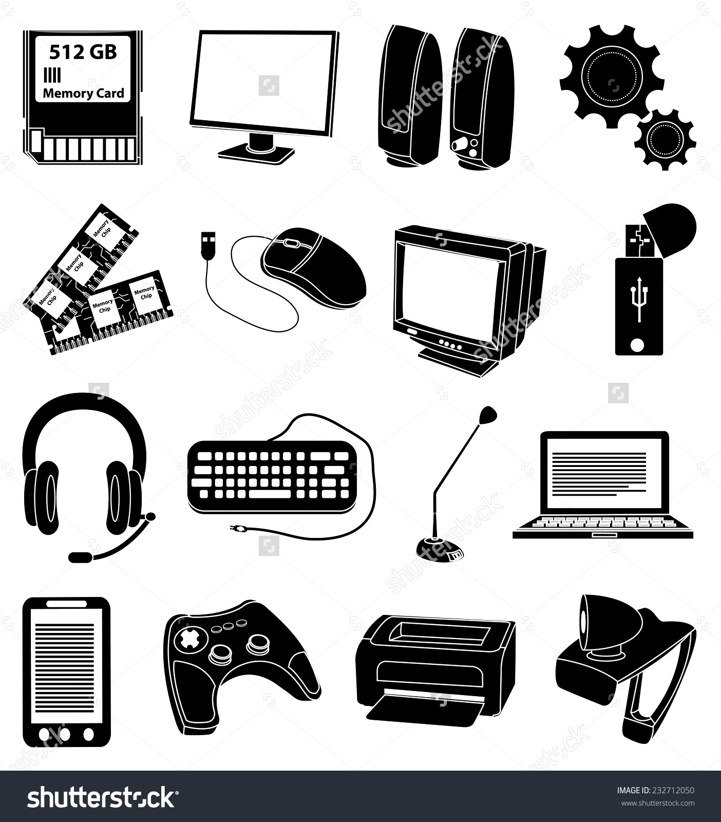 Input and output devices clipart.