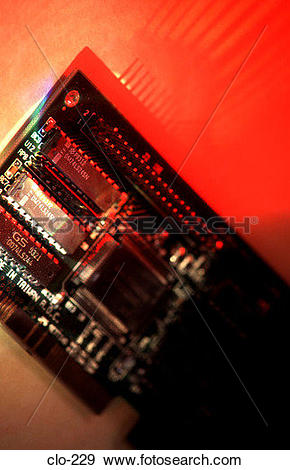 Stock Photograph of Input/Output Card in Coloured Light clo.