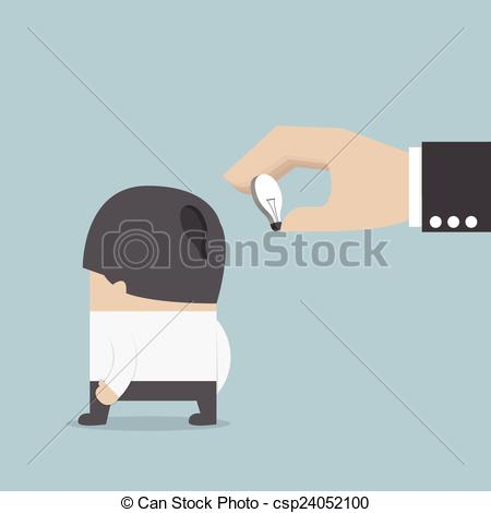 Vector Clipart of Hand holding light bulb of idea and input it.