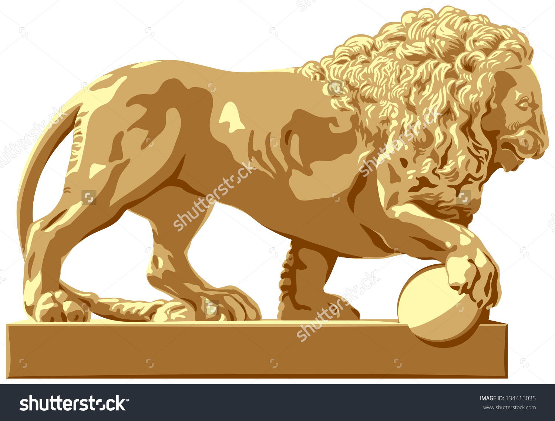 Lion Sculpture, Classicism Style Architecture Detail At An Input.