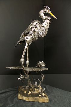 Amazing Animal Sculptures Created with Welded Flatware.