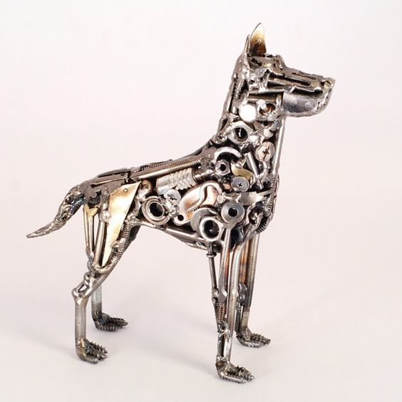 Welded Sculptures Made from Found Objects and Recycled Materials.