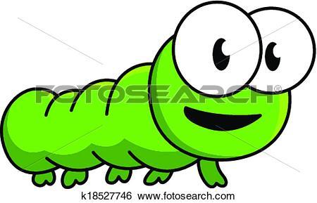Clip Art of Inquisitive green cartoon caterpillar k18527746.
