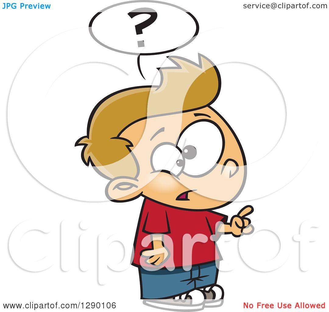 Cartoon Clipart of an Inquisitive Caucasian Boy Asking a Question.