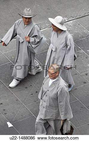 Stock Images of Seoul (South Korea): Buddhist monks walking in.