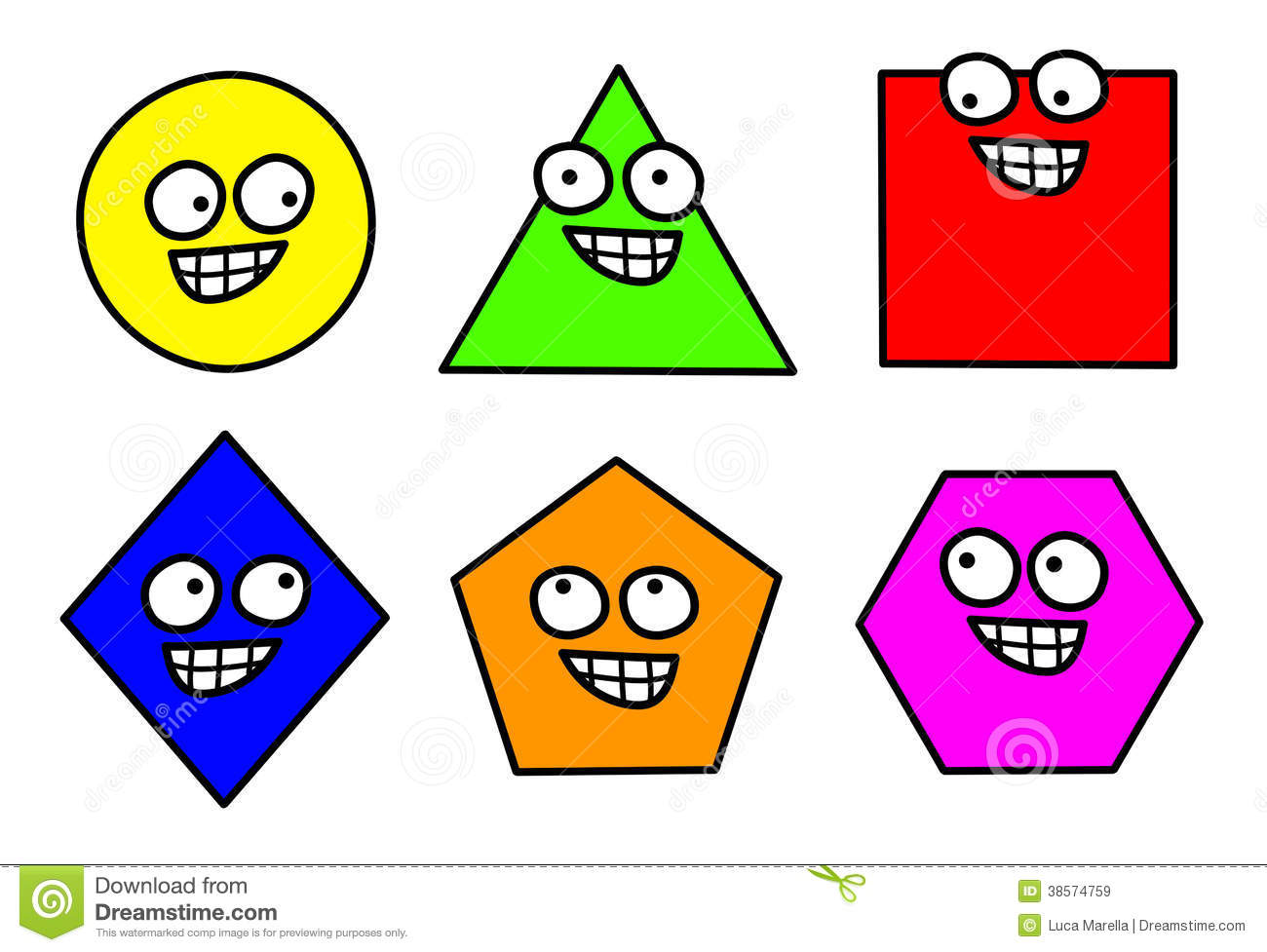 Geometry inscribed shapes clip art.