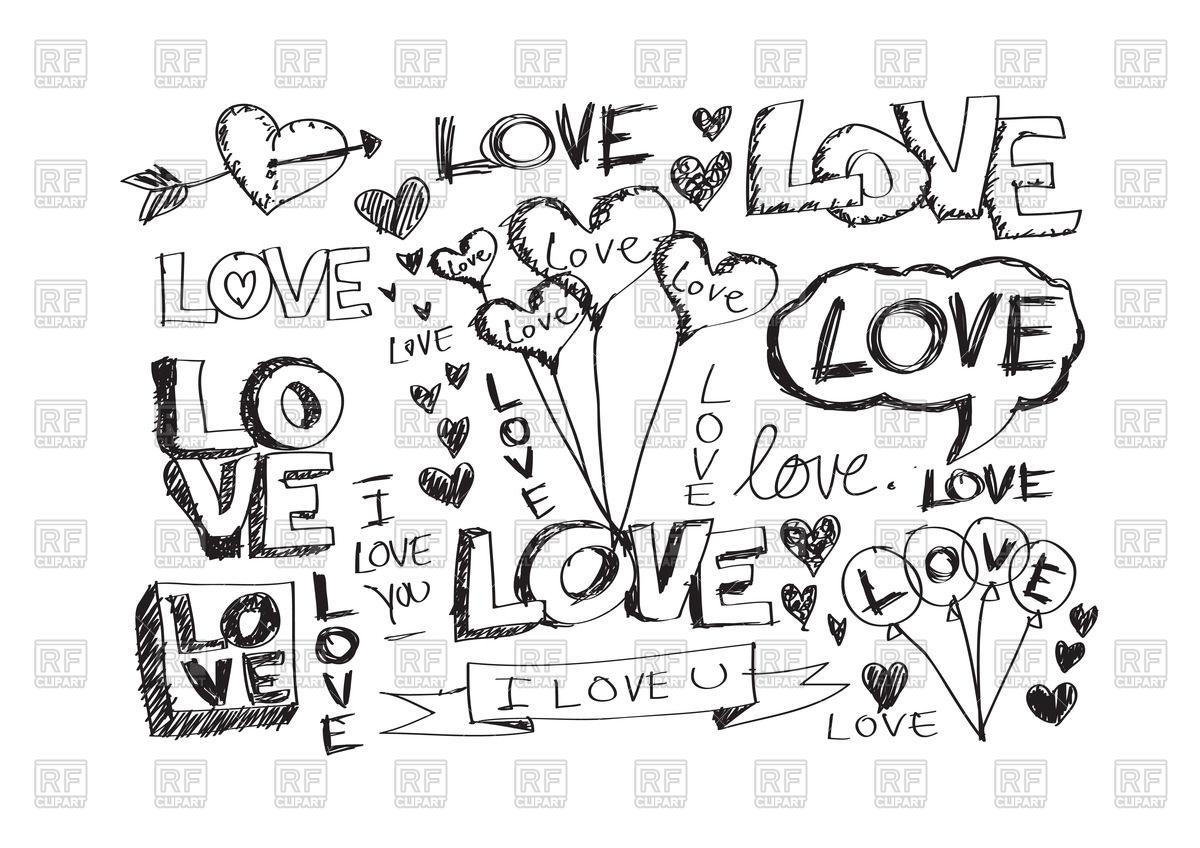 Inscription I Love you in hand drawn style Vector Image #69107.