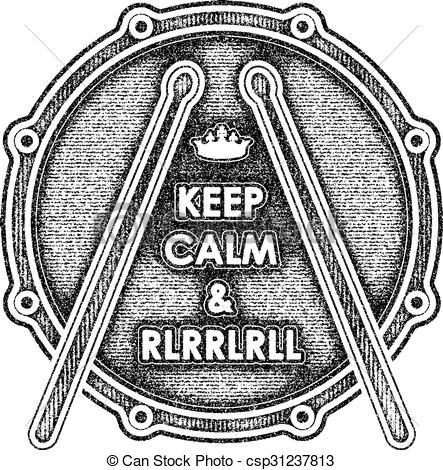 Vector Clip Art of Snare drum with Keep calm and rlrrlrll.