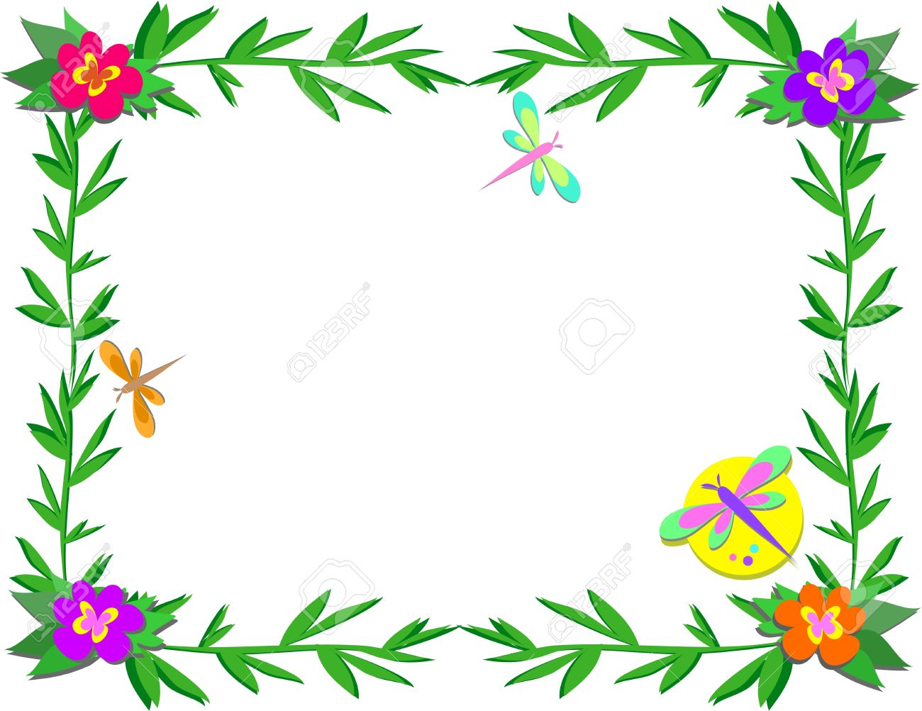 Frame with Bamboo, Flowers, and Insects.