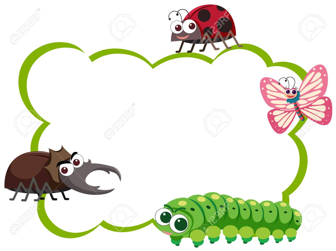 Border template with four types of insects illustration.