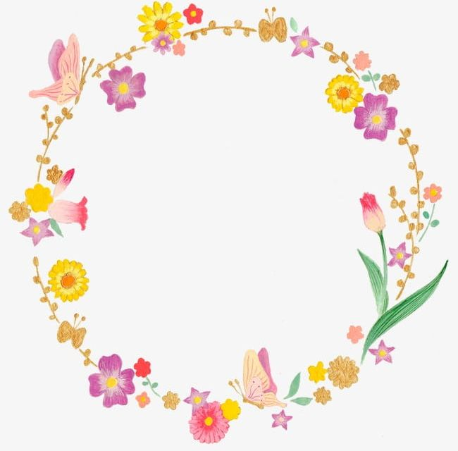 Elegant Flower Insect Circular Border PNG, Clipart, Border.